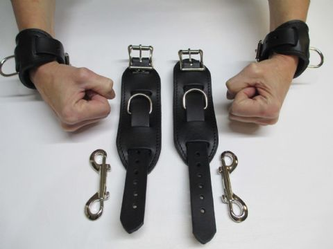 Heavy Duty Black Leather/Suede 4 Piece Restraint Cuffs